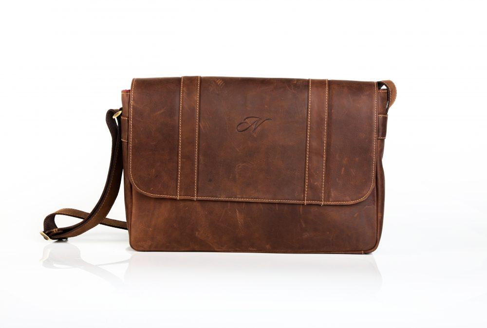 Chivalry Satchel Laptop (Diesel Brown) Red Inner