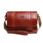 "Genuine Leather ""Chivalry"" Satchel Laptop (Tan) Red Inner"