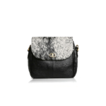 "Genuine Leather Handbag ""RoseGold Intrepid"" Nguni Black&White"